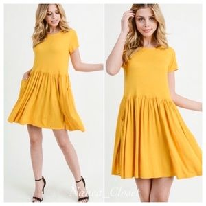 Boho Short Sleeve Babydoll Dress | Yellow Gold